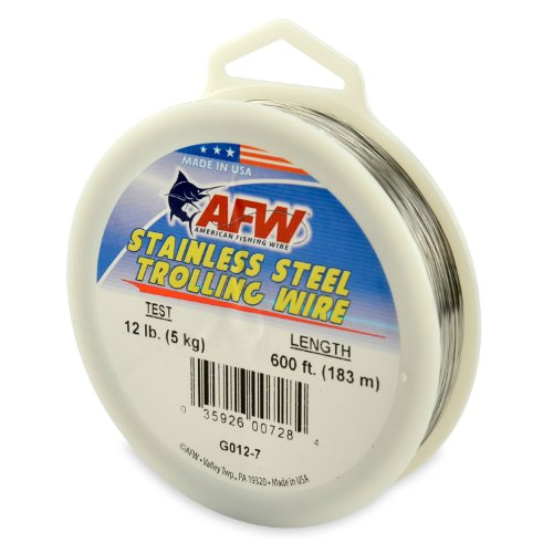 - American Fishing Wire Stainless Steel Trolling Wire (Single Strand), Bright Color, 12 Pound Test, 600-Feet