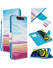 EnjoyCase Colorful Flip Case for Samsung Galaxy A80/90,Blue Sky Painted Pu Leather Bookstyle Magnetic Closure Wrist Strap Wallet Case Cover with Stand Function