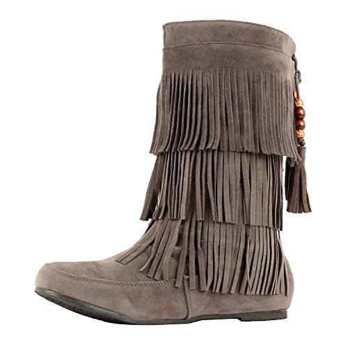 West Blvd Lima - Womens Western Fringe 3-Tier-Mokassin-Flach - Faux Suede Mid Calf Boots Graue Su