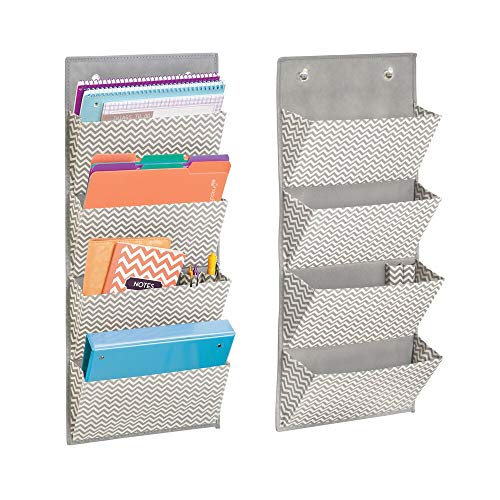 mDesign Soft Fabric Wall Mount/Over Door Hanging Storage Organizer - 4 Large Cascading Pockets - Holds Office Supplies, Planners, File Folders, Notebooks - Chevron Zig-Zag, 2 Pack - Taupe/Natural