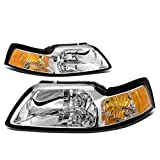 mustang bumper cobra cover 99 04 - DNA Motoring HL-OH-FM99-CH-AM Headlight Assembly, Driver and Passenger Side