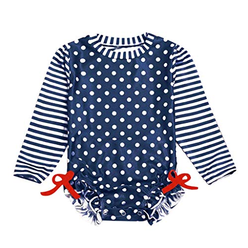 - TEVEQ Kids Baby Girl Swimwear Ruffled Dot Striped Swimsuit with Sun Protection Navy