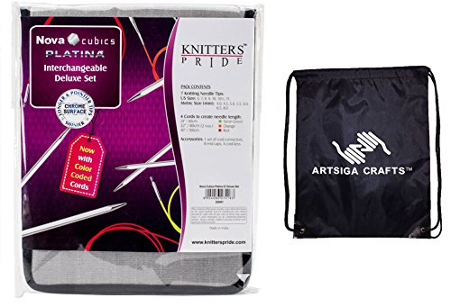 Knitter's Pride Bundle: Nova Cubics Platina Deluxe Interchangeable Tip Knitting Needles Set Deluxe Set (Normal IC) with 1 Artsiga Crafts Project Bag 320451 by Artsiga Crafts Knitter's Pride