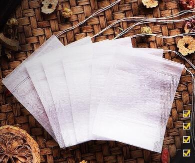 100X Bolsas de Papel del Filtro de Té de Bombeo Bolsitas Tela no tejida Blanco [Dimensiones: 5.5*7cm]