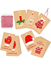 ASTARON Christmas Tags Festival Kraft Lable Cards with Hanging Rope for Hanging and Wrapping Decoration