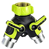VicTsing 2 Way Y Hose Connector Splitter, Garden Water Splitter Metal Body with Smooth Rubberized Grip (4 Free Washers, Green)