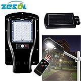 ZESOL 30W 60 LEDs Solar Power Street Light PIR Motion Sensor Garden Security Lamp Outdoor Wall Lights with pole arm accessories