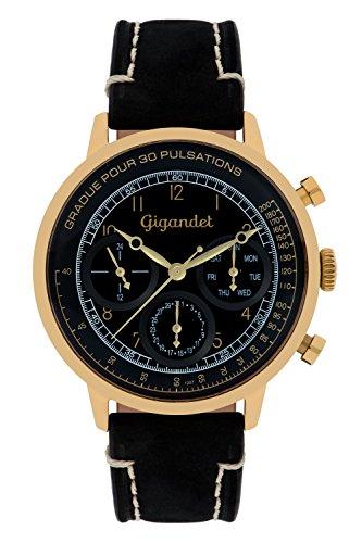 Gigandet Men's Quartz Watch Pulsation Chronograph Analog Leather Strap Black Gold G45-004