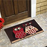 "Owls Vinyl Backed Coir Door Mat (18""x30"")"