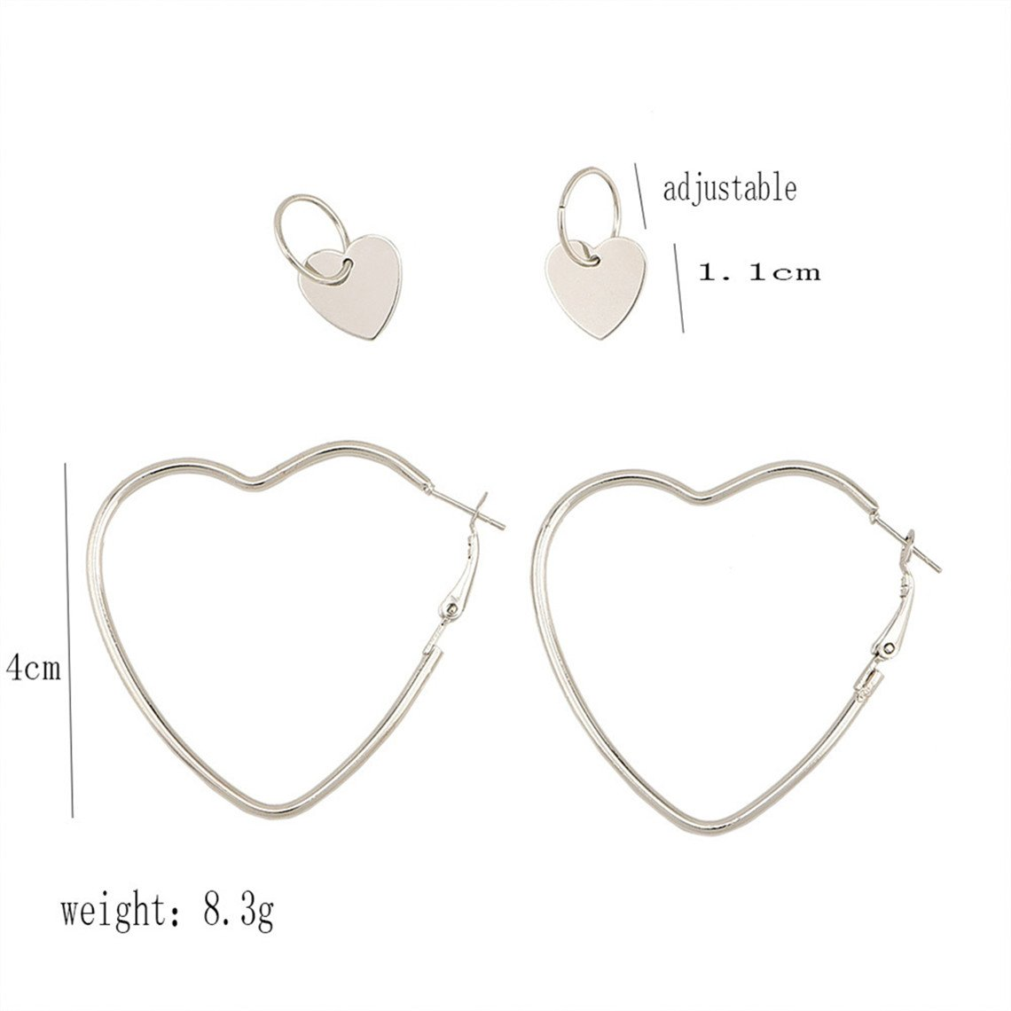 Rurah Women's Heart Shape Large Hoop Earring and Small Love Heart Earring Set
