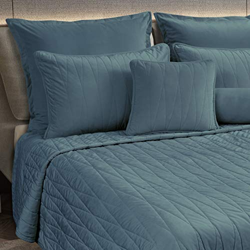 Maison Atlas Velvet Quilt, Jewel Premium Velvet Collection, Cotton Backing, Cotton Batting, King, Blue Green Slate