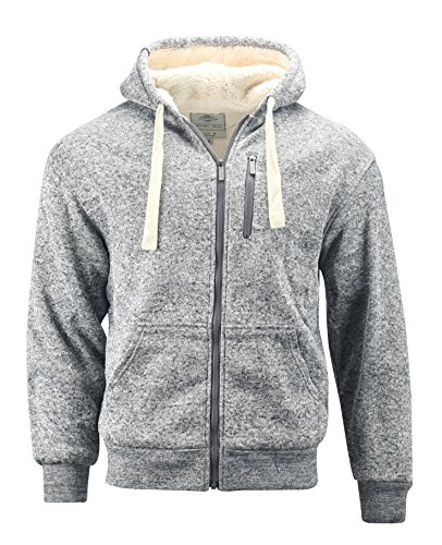 Profound Apparel Men's Melange Heavyweight Sherpa Lined Full Zip Fleece Hoodie (Dark Gray, (Lined Zip Hoody)