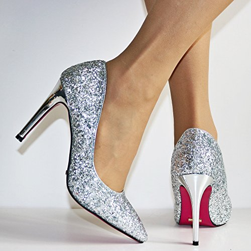 Rock Shoes Pink Heel High Prom Court Ladies Super Silver Sole Evening Sparkly Glittery Styles on Size Party 55361 rRq6rB