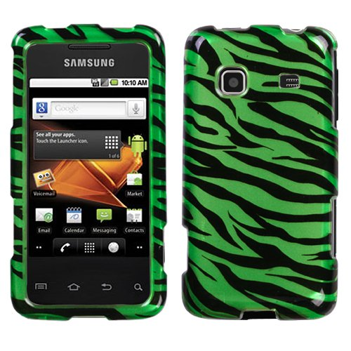 Zebra Skin Dr Green/Black(2D Silver) Phone Protector Faceplate Cover For SAMSUNG M820(Galaxy Prevail) Zebra Samsung Faceplates