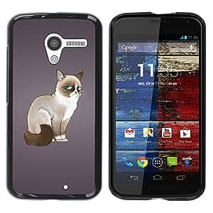 PC/Aluminum Funda Carcasa protectora para Motorola Moto X 1 1st GEN I XT1058 XT1053 XT1052 XT1056 XT1060 XT1055 Funny Angry Mad Cat / JUSTGO PHONE PROTECTOR