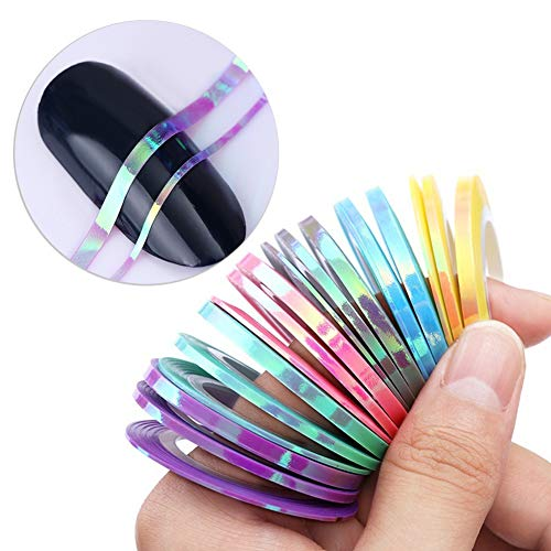lightclub 12Pcs/Set 1/2mm Candy Color Striping Tape Adhesive DIY Nail Art Sticker Manicure 1