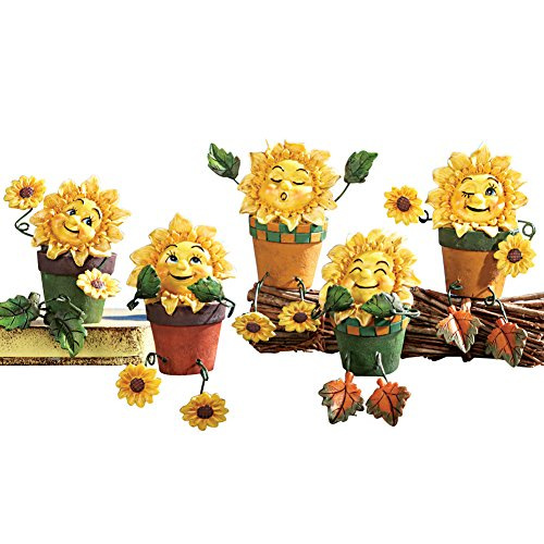 Collectible 5 Piece Sunflower Bookcase Shelf Sitters Set, Yellow