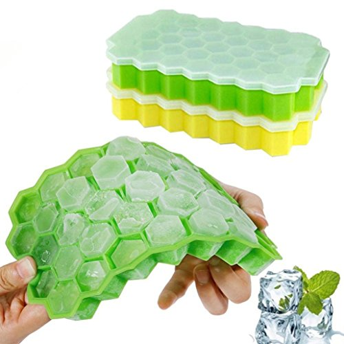 Litetao Hot Sale! 2PC Honeycomb Shape Easy-Release Silicone and Flexible Ice Cube 37 Cubes Ice Tray Ice Cube Mold Storage Containers, Stackable Durable and Dishwasher Safe (A) -