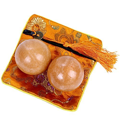 Brass Statu One Pairs Natural Marble Health Exercise Orange Baoding Balls (1.4'') by Brass Statu