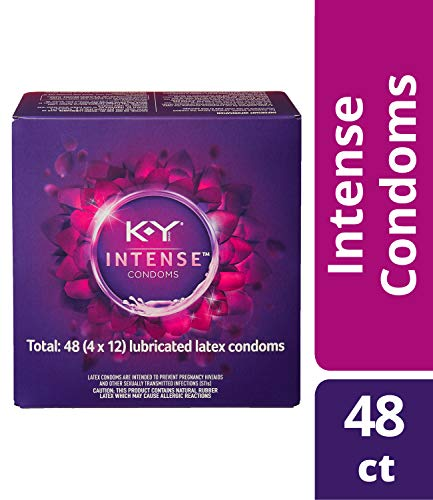 K-Y Me & You Intense Ultra Thin Latex Condoms- Water Based Lube, Intensifying Tingling Sensation For Her and Natural Fit For Him, Ribbed With Reservoir Tip, HSA Eligible, 48 Count