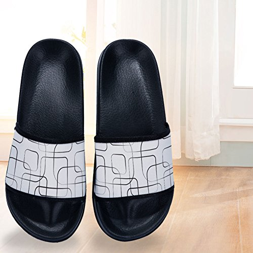 Non Slip Womens Slippers Simple Black for Slippers Quick Lines Slippers Pattern Drying BqUYcx0BRw