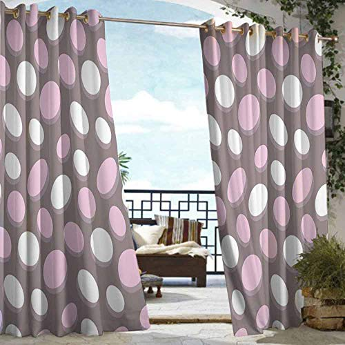 DILITECK Home Patio Outdoor Curtain Geometric Retro Oval Pattern Circles Abstract Pale Vintage Elliptical Design Waterproof Patio Door Panel W96 xL72 Warm Taupe Pink Cream