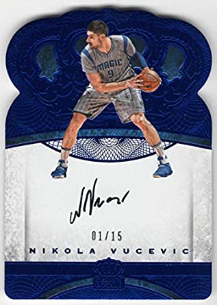 Nikola Vucevic 2016-17 Panini Preferred Crown Royale Die Cut Blue On Card Auto Serial