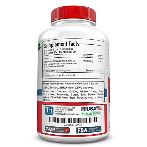 Trusted Nutrients 75% HCA Garcinia Cambogia Extract Garcinia Cambogia for Weight Loss, Promotes Healthy Body Weight and…