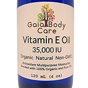 OVER 50% OFF!!! - LIMITED TIME SALE - True Organic Vitamin E Oil 35,000 IU - Organic and All Natural Super Blend for Anti-aging and Dry Skin 4 oz / 120 mL - Gaia Body Care