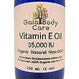 Organic Vitamin E Oil 35,000 IU Certified Organic Natural Super Blend for Anti-aging and Dry Skin 4 oz / 120 mL - Gaia Body Care