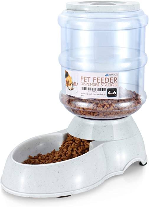 Flexzion Automatic Pet Food Feeder & Waterer Dispenser Set, Auto Gravity Replenish Water Eating Bowl Storage Container Fountain, Self Feeding Station Dog Cat Animal Supplies w/Plastic Jug Rubber Feet