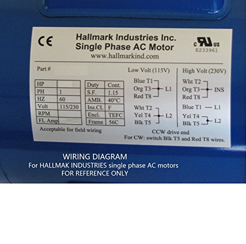 Hallmark Industries MA0510A AC Motor, 1 hp, 1725 RPM, 1PH/60 Hz, 115/208-230 VAC, 56C/TEFC, Cap Start with Foot, SF 1.15, Class F Insulation (Pack of 1) by Hallmark Industries (Image #7)