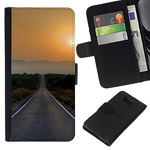 KLONGSHOP // Tirón de la caja Cartera de cuero con ranuras para tarjetas - Sunset Beautiful Nature 77 - Samsung ALPHA G850 //