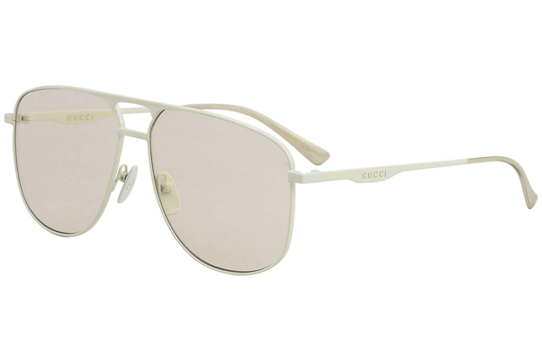 73f258ddf00 Gucci Aviator Unisex Sunglasses GG0336S 06 60mm Ivory   Brown Lens ...