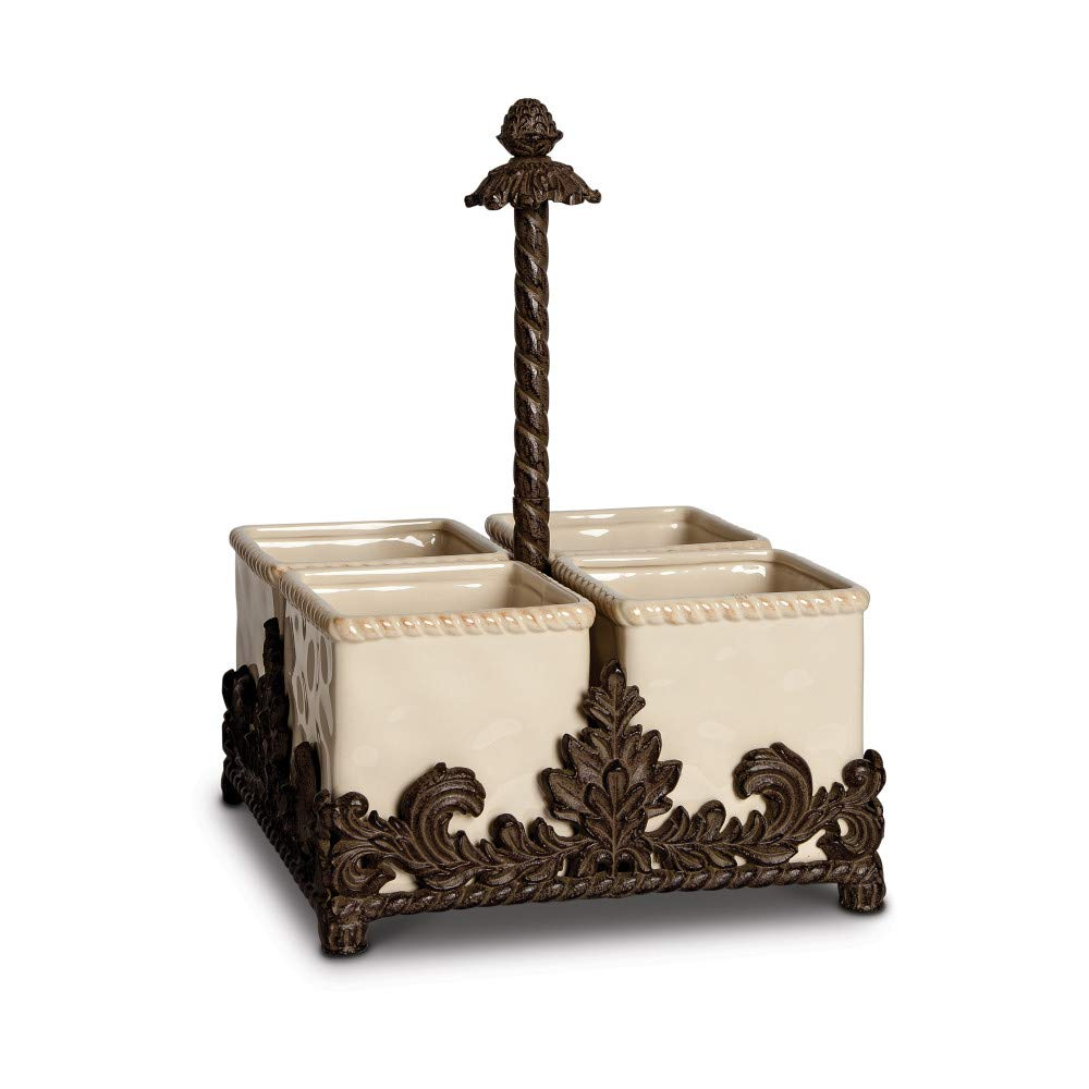 12.5'' Ivory and Brown Rustic Finish Four Removable Container Flatware Caddy