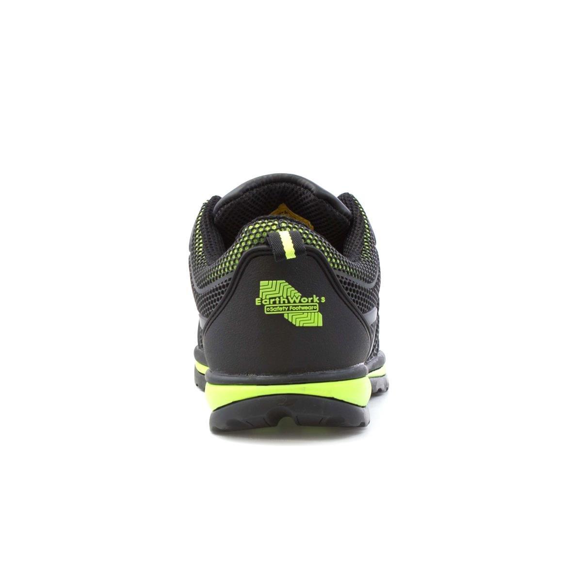 Earth Works Safety Schwarzes und Kalk-Ineinandergreifen-Sicherheit Schuh für Männer durch Earthworks - Größe 8 UK/42 EU - Schwarz dXeguOaH