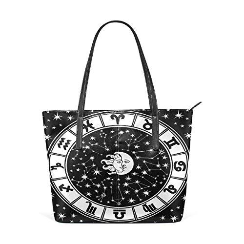 COOSUN Horóscopo Círculo Negro y negro, signo del zodiaco hombro bolso de cuero del monedero y bolsos de la bolsa de asas para las mujeres Medio muticolour