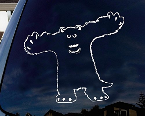 LA DECAL Monsters Inc Sully cartoon characters scary halloween d_cor car truck laptop macbook decal sticker 6 inches white