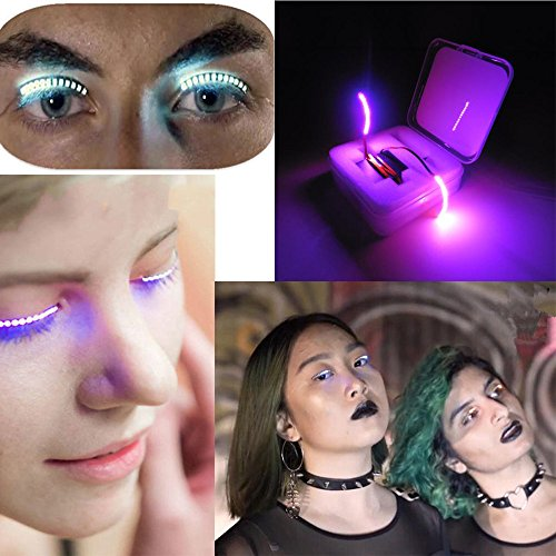 Contacts Halloween Lenses (Staron LED Fake Eye Lashes, Music Control False Eyelashes Lights Change Eyelid Fashion Icon Saloon Pub Club Bar Party)