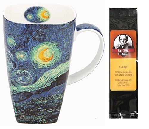 - McIntosh Trading Van Gogh Starry Night Grande Coffee or Tea Mug in a Matching Gift Box and 6 Tea Bags, Bundle 2 Items