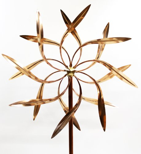 Stanwood Wind Sculpture: Large Kinetic Copper Dual Spinner - Dancing Willow Leaves Jumbo Version (3-ft Across, 9-ft Tall) (3' Jumbo Mounts)