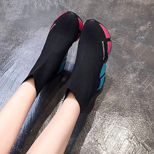 L'invisibilità Per Plateau Scarpe Yan In Donna Da Ginnastica Ragazze Traspiranti Elasticizzate Alte Sneakers Nero Elastico Stivali Con Maglia 7Cw7qRxUa