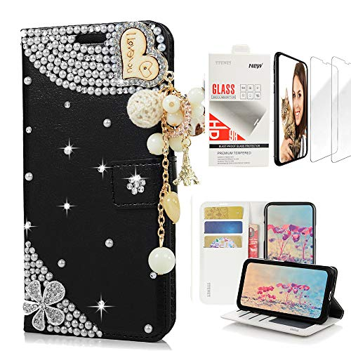 STENES Bling Wallet Case Compatible with Samsung Galaxy S10 Plus 6.4 Inch (2019 Release) - Stylish - 3D Handmade Heart Pendant Flowers Leather Case with Wrist Strap & Screen Protector [2 Pack] - Black ()