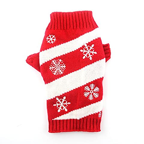 DOGGYZSTYLE Vintage Christmas Themed Holiday Festive Pet Cat Dog Sweater Jumper Clothes (M, (Themed Sweaters)