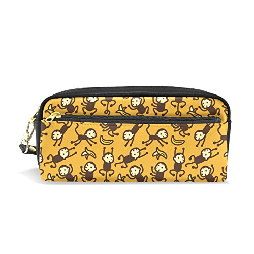 Cute Cartoon Monkey Pattern Print PU Leather Student Pencil Case Pen Organizer Pouch Stationary Case Makeup Cosmetic Bag]()
