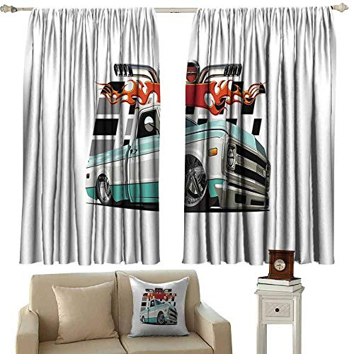DUCKIL Bedroom Curtains 2 Panel Truck Lowrider Pickup with Racing Flag Pattern Background Speeding on The Streets Modified Noise Reducing Curtain W55 xL63 Multicolor ()
