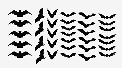Innovative Stencils Halloween Decor Scary Black Bats Decal Set of 34 Stickers Monster (Black)