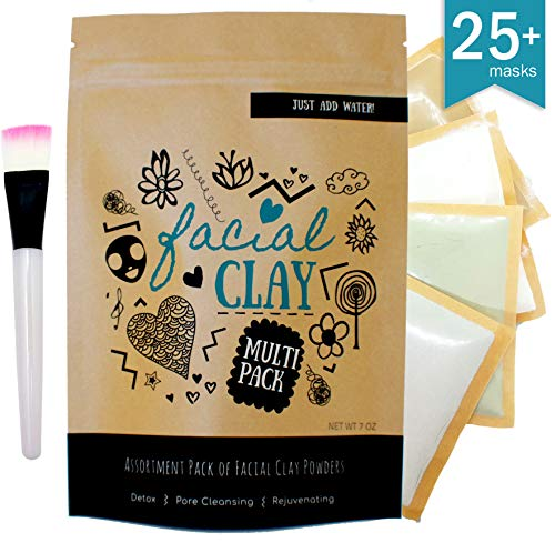 Clay Face Mask Multi Pack | 100% Natural |Bentonite, Rhassoul, Kaolin & French Green Clay| Makes up to 25 masks | Bonus: Facial Mask Brush