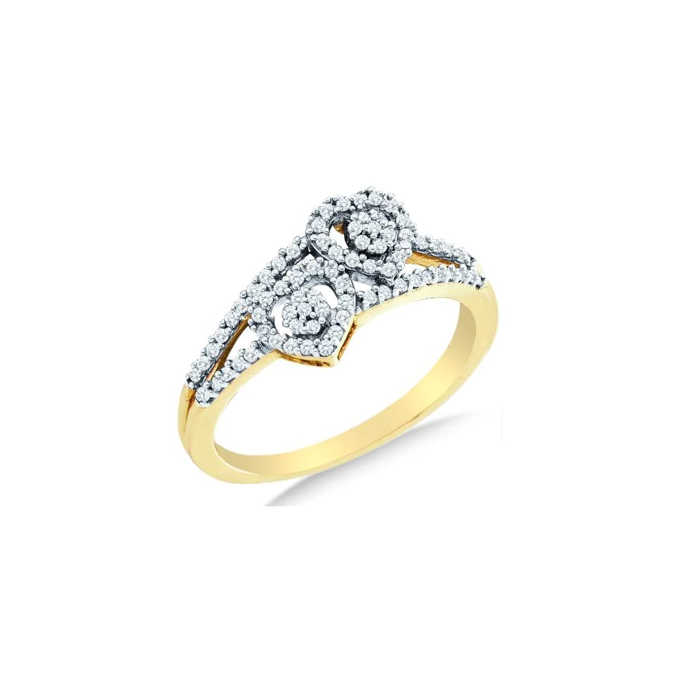 Size 9   10K Yellow and White Two Tone Gold Diamond Two 2 Heart Flower Engagement OR Fashion Right Hand Ring Band   Flower Shape Center Setting w/ Channel Set Round Diamonds   (1/4 cttw)