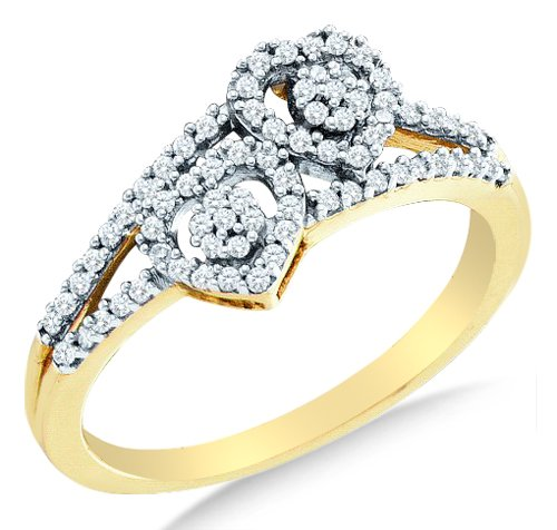 Size 4.5 - 10K Yellow and White Two Tone Gold Diamond Two 2 Heart Flower Engagement OR Fashion Right Hand Ring Band - Flower Shape Center Setting w/ Channel Set Round Diamonds - (1/4 (Diamond Flower Right Hand Ring)